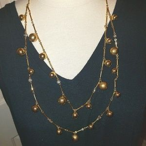 kate spade Jewelry - Kate spade 2 tier gold tone bead necklace